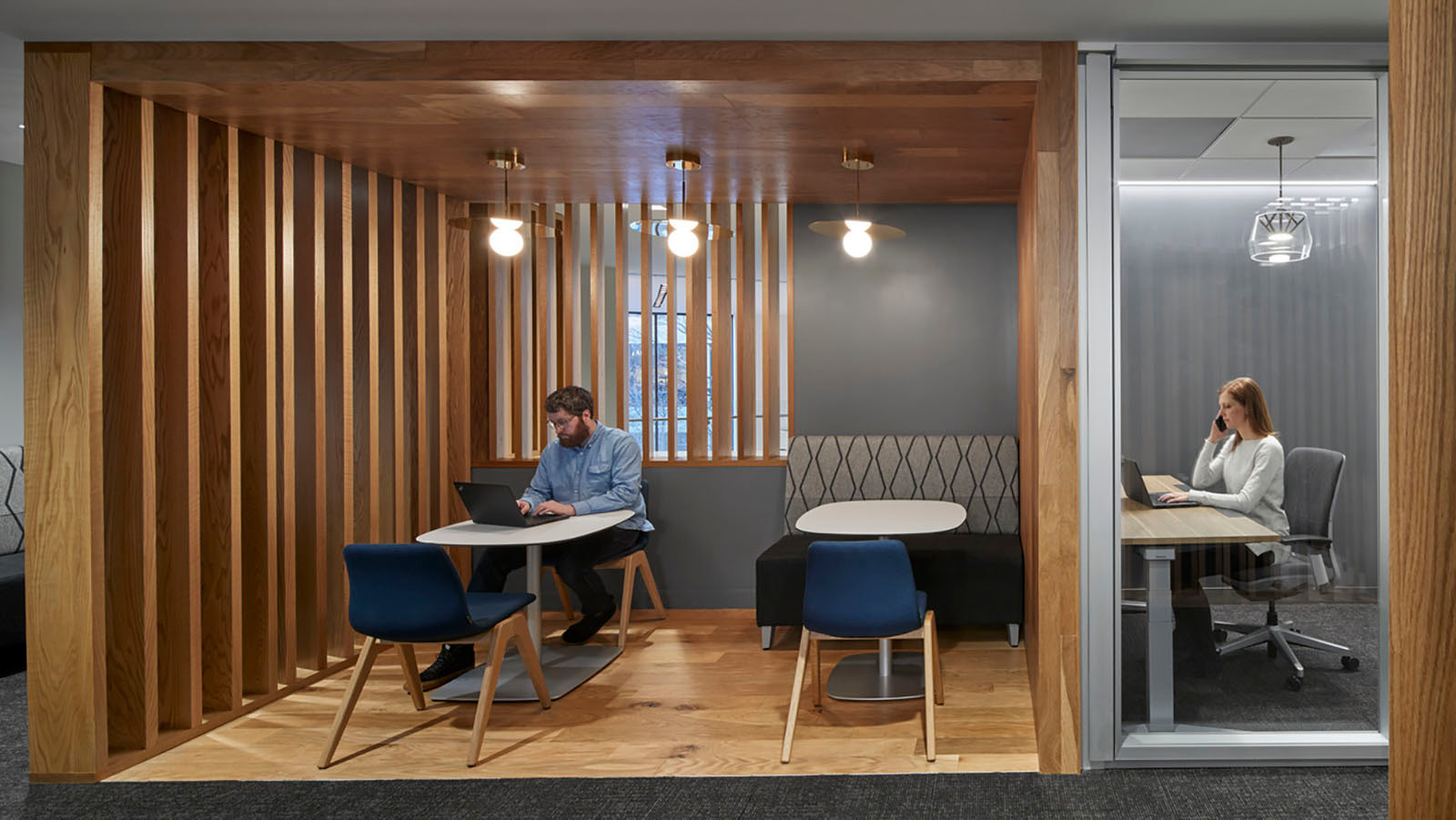 Heads down work spaces at Sun Life's Wellesley office
