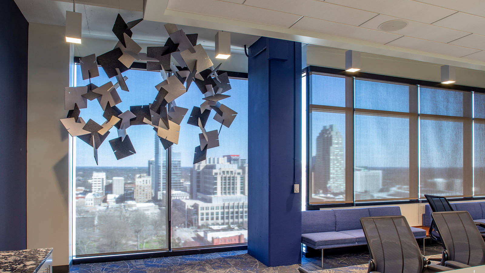 A decorative mobile with acoustic elements in the Arch Insurance headquarters