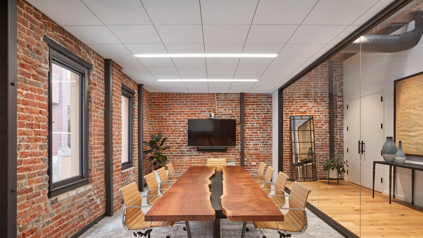 A conference room in the 01 Advisors office space