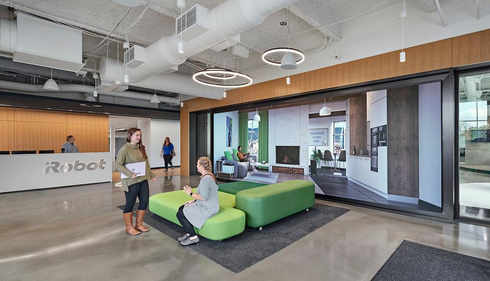 The lobby of iRobot's Bedford headquarters