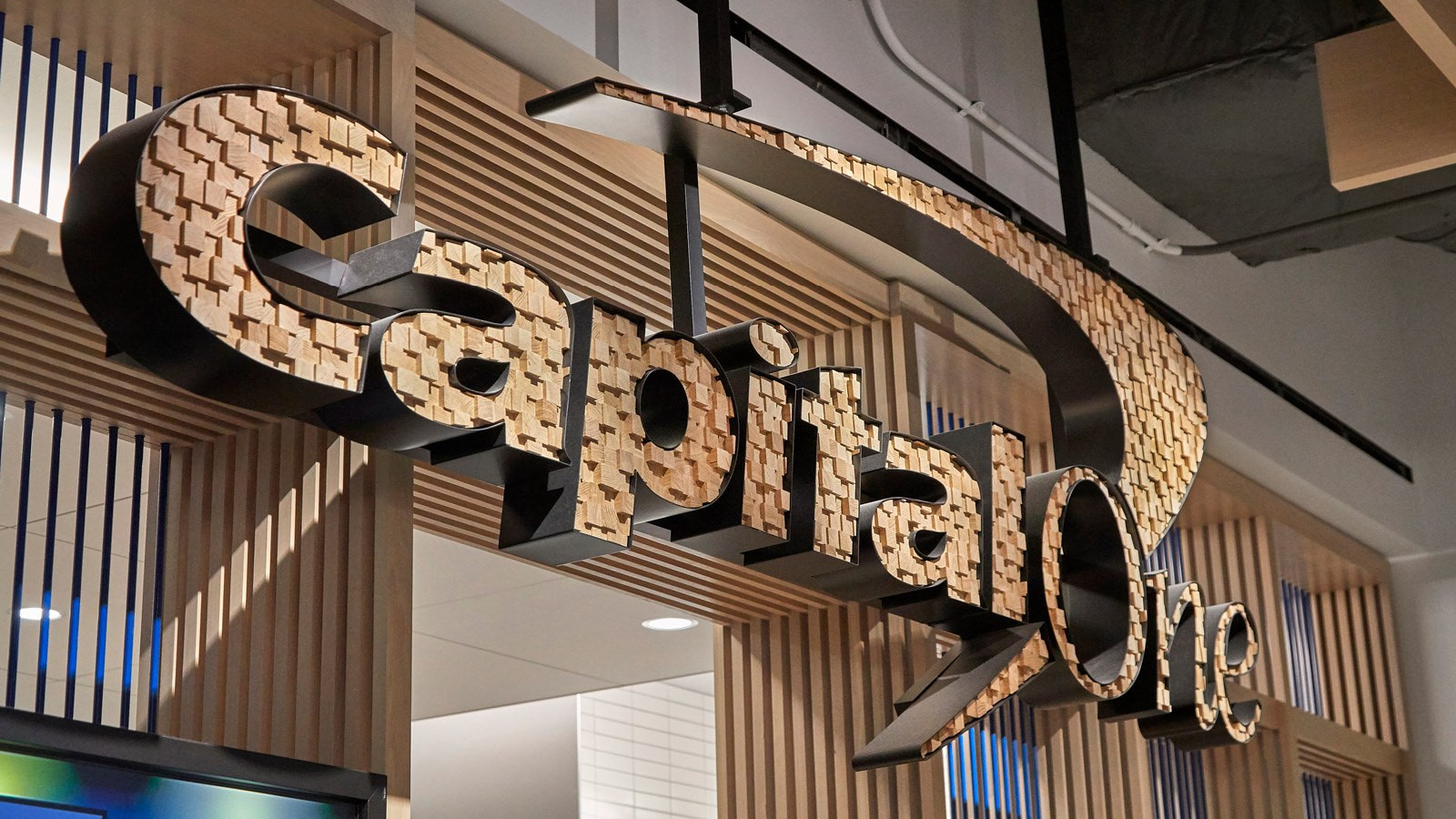 Interior Signage at the Capital One Café in Chicago