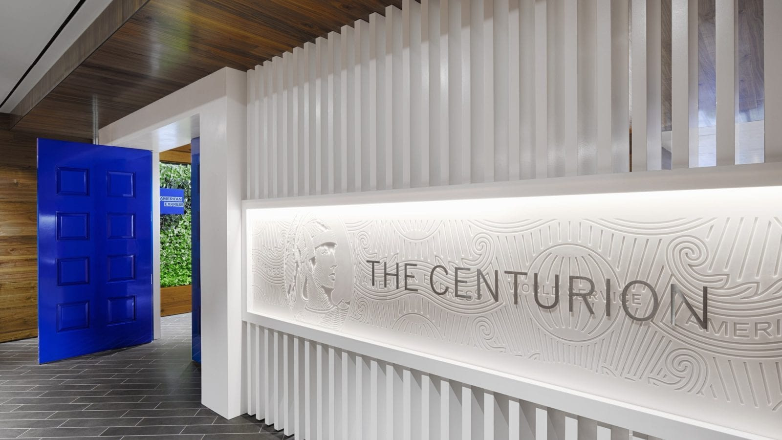 This blue door is indicative of all Centurion Lounge location.