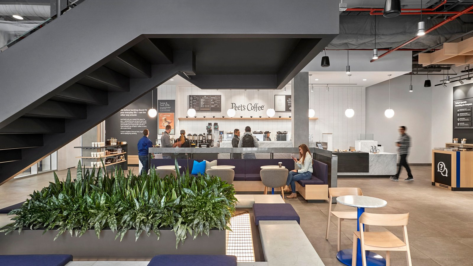 The Main Stair and Cafe at Capital One Café at 100 State Street
