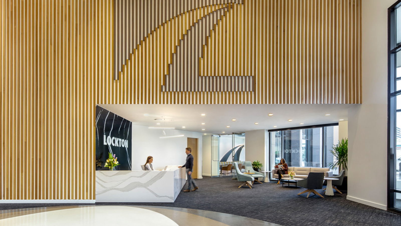 Lockton lobby wood slat wall