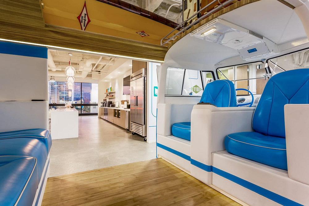 A view through the VW Bus at the Alteryx Headquarters
