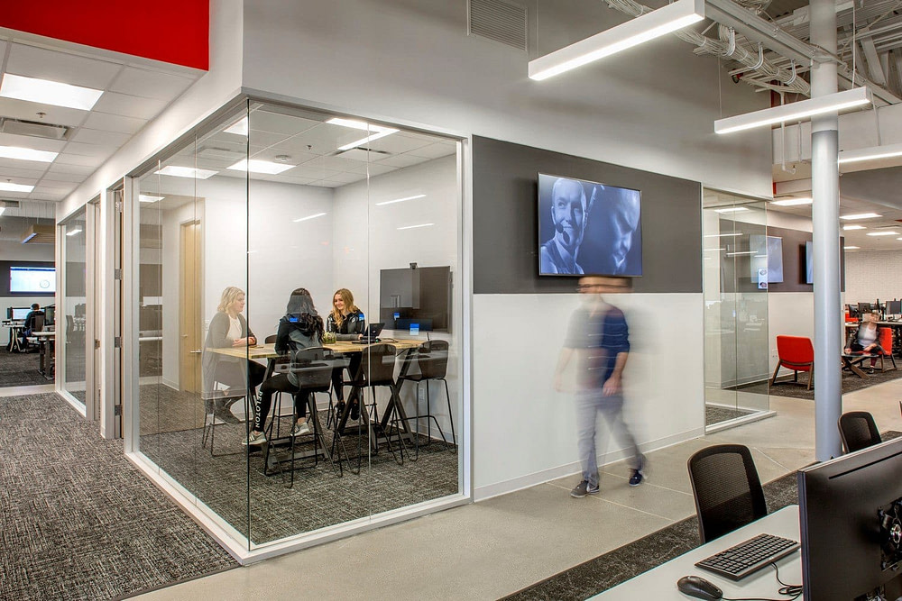 Meeting space at the Peloton Customer Care center.