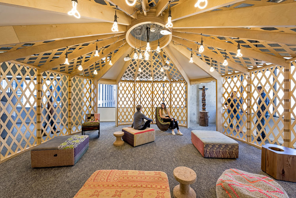 An interior view of the yurt