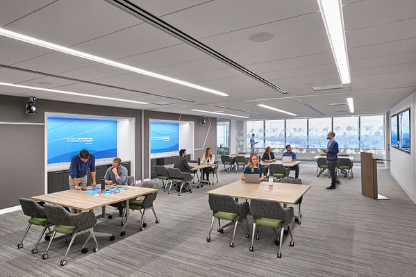 A corporate, collaborative learning space in Chicago.