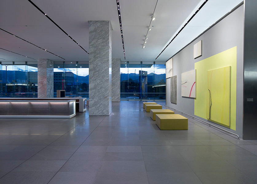 The lobby of the Bancolombia offices in Medellin.