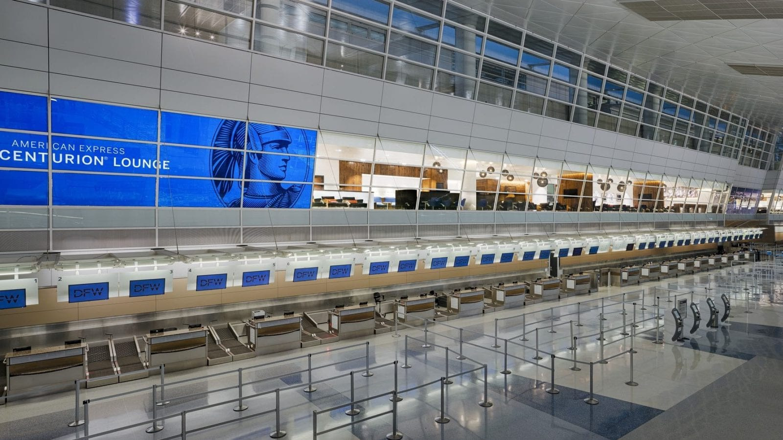 The American Express Centurion Lounge Features Branded Window Tinting Visible From a Great Distance