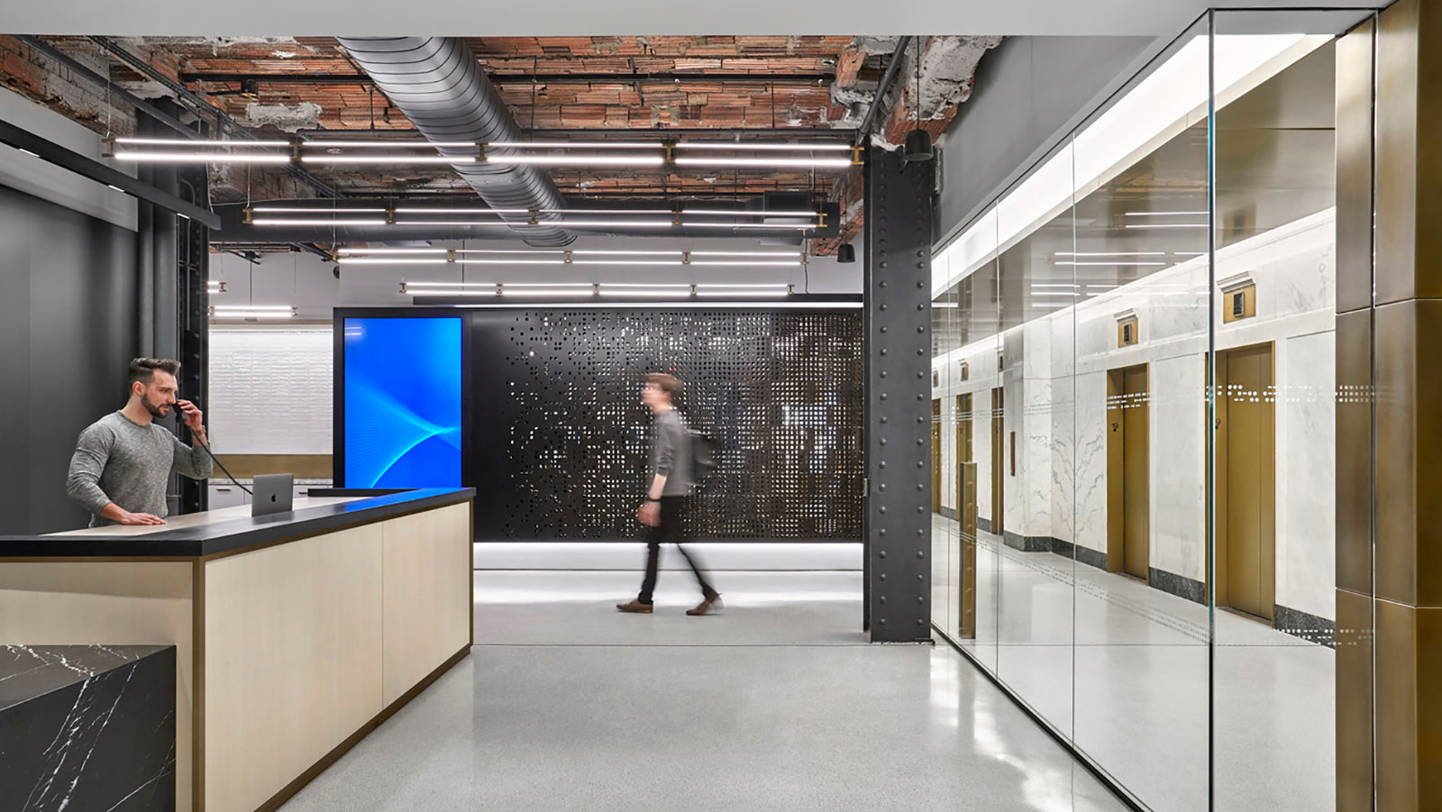 A high-tech reception area at a New York City workspace.