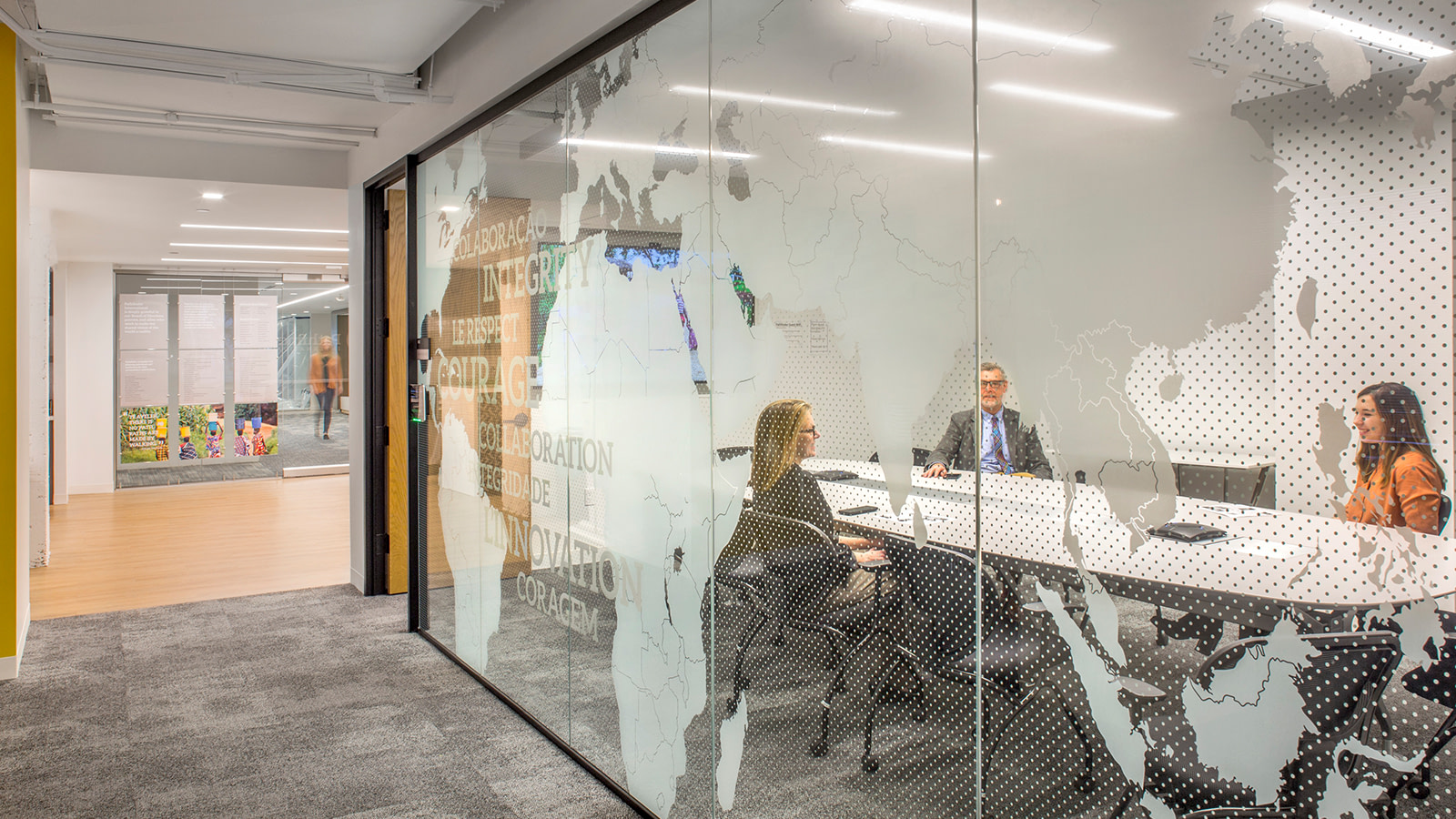 A glass partition at a non-profit meeting room.