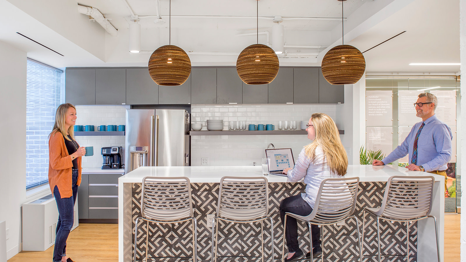 Cafe and kitchen area with work space in DC