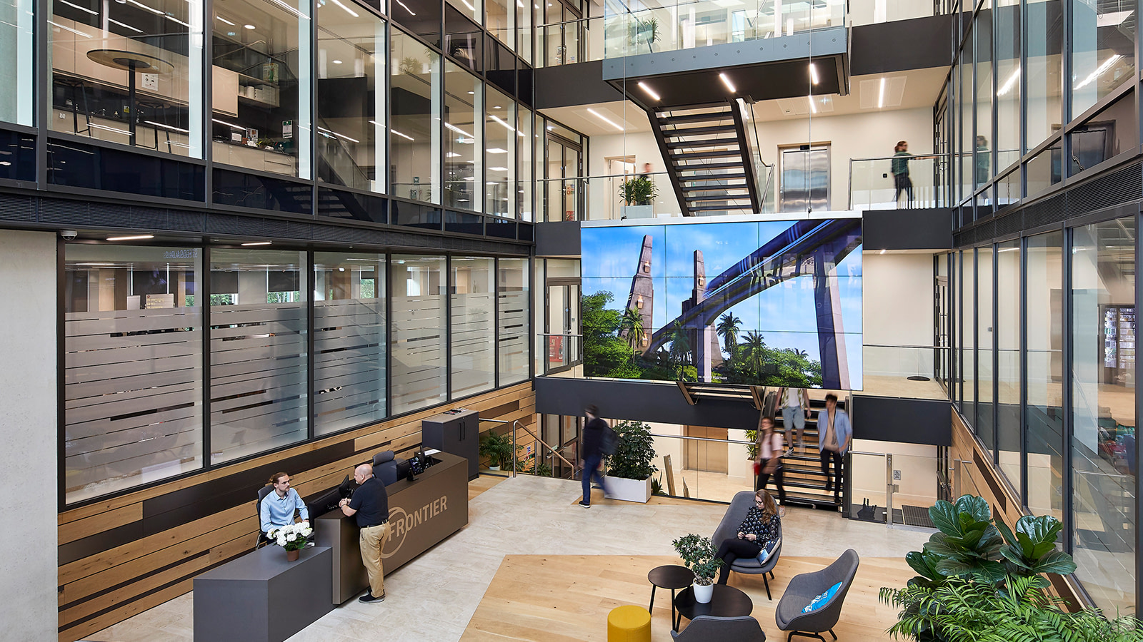 A view of the central atrium at Frontier Developments workplace.