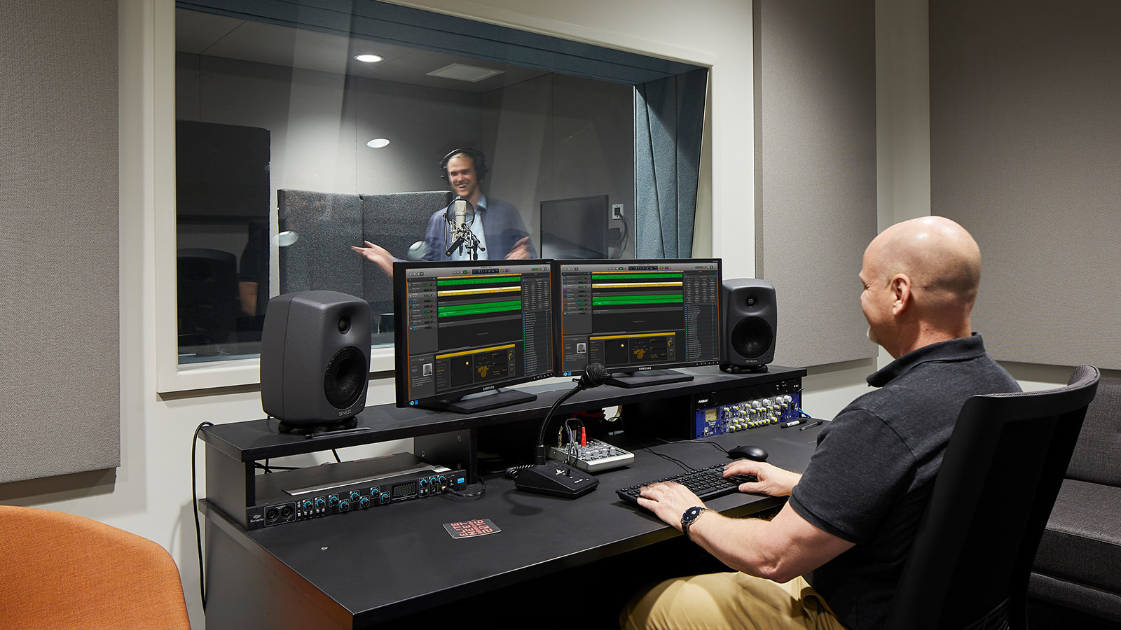A sound recording studio at the Frontier Development gaming offices.