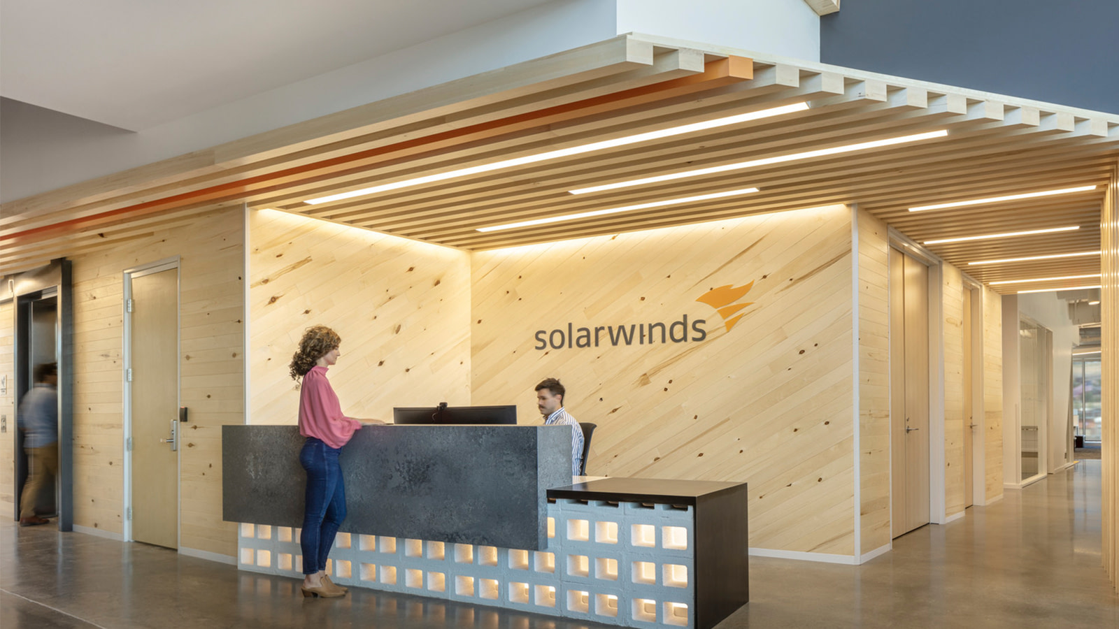 The reception area at SolarWinds' Lehi workspace.