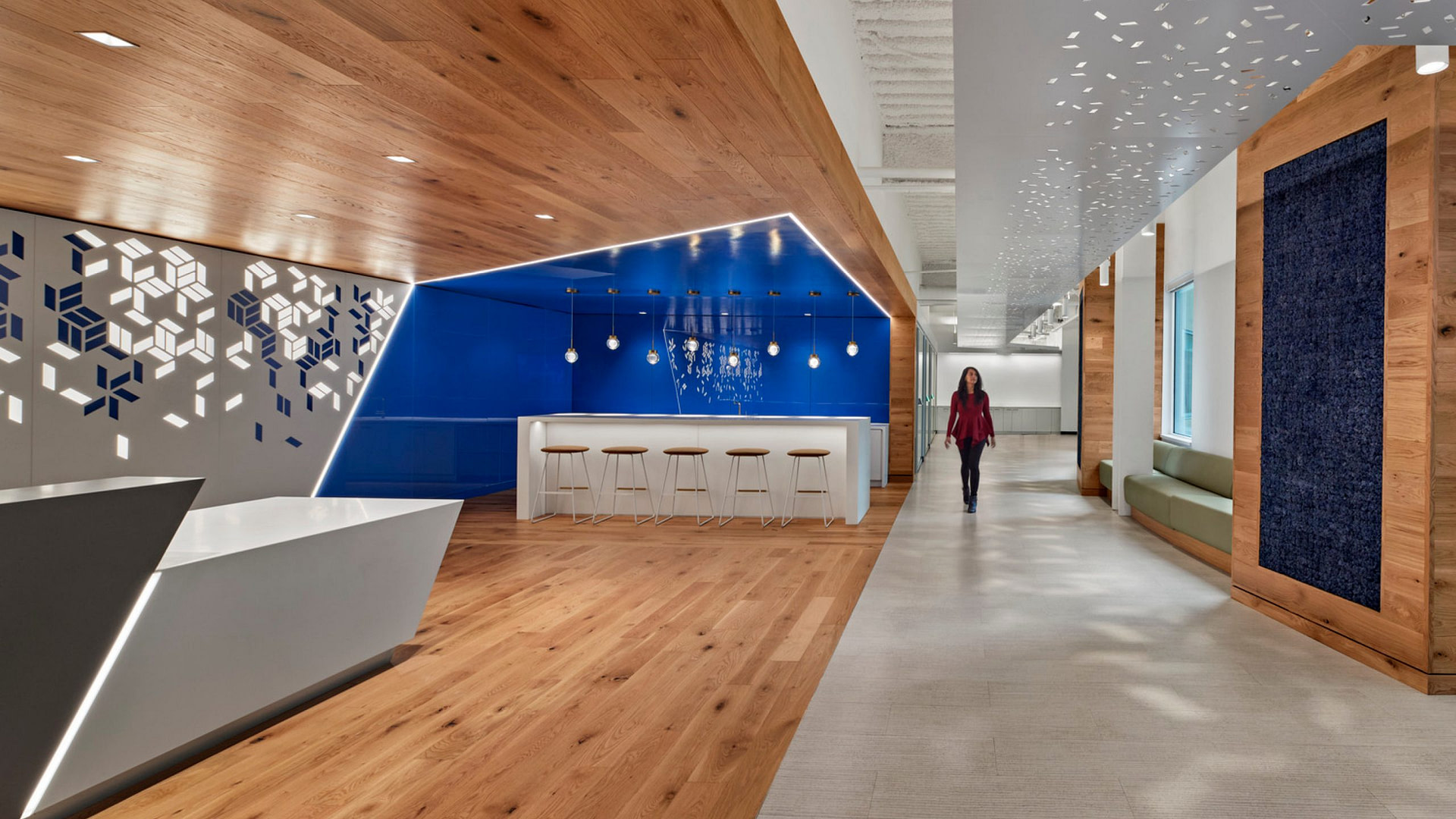 Reception area and tech bar at a Boston workplace.