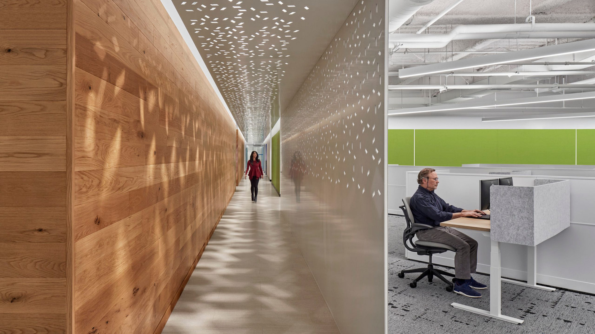 A hallway with perforated partitions at the Verisk Boston offices.