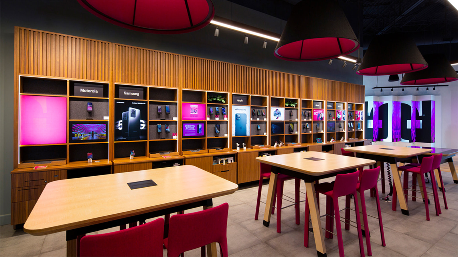 The retail floor of T-Mobile's Plano location.