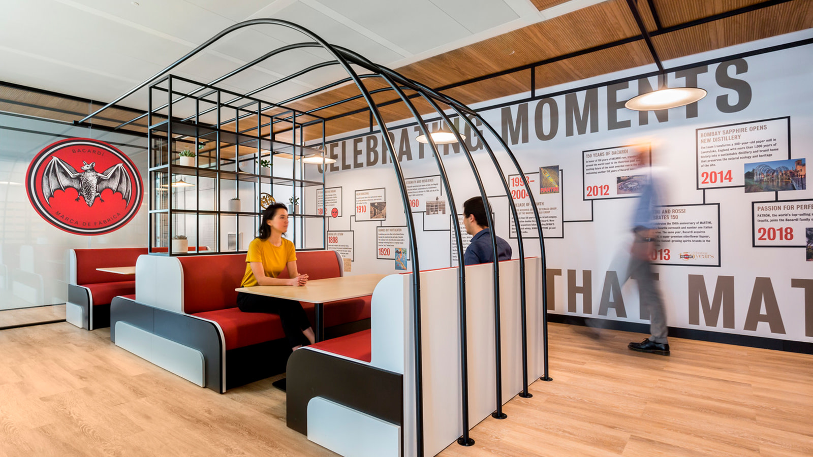 A booth suited for collaboration at Bacardi's Paris office space.