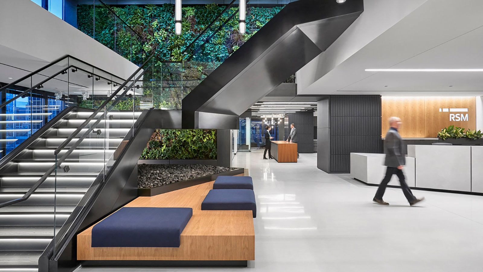 Biophilic wall at RSM central stair
