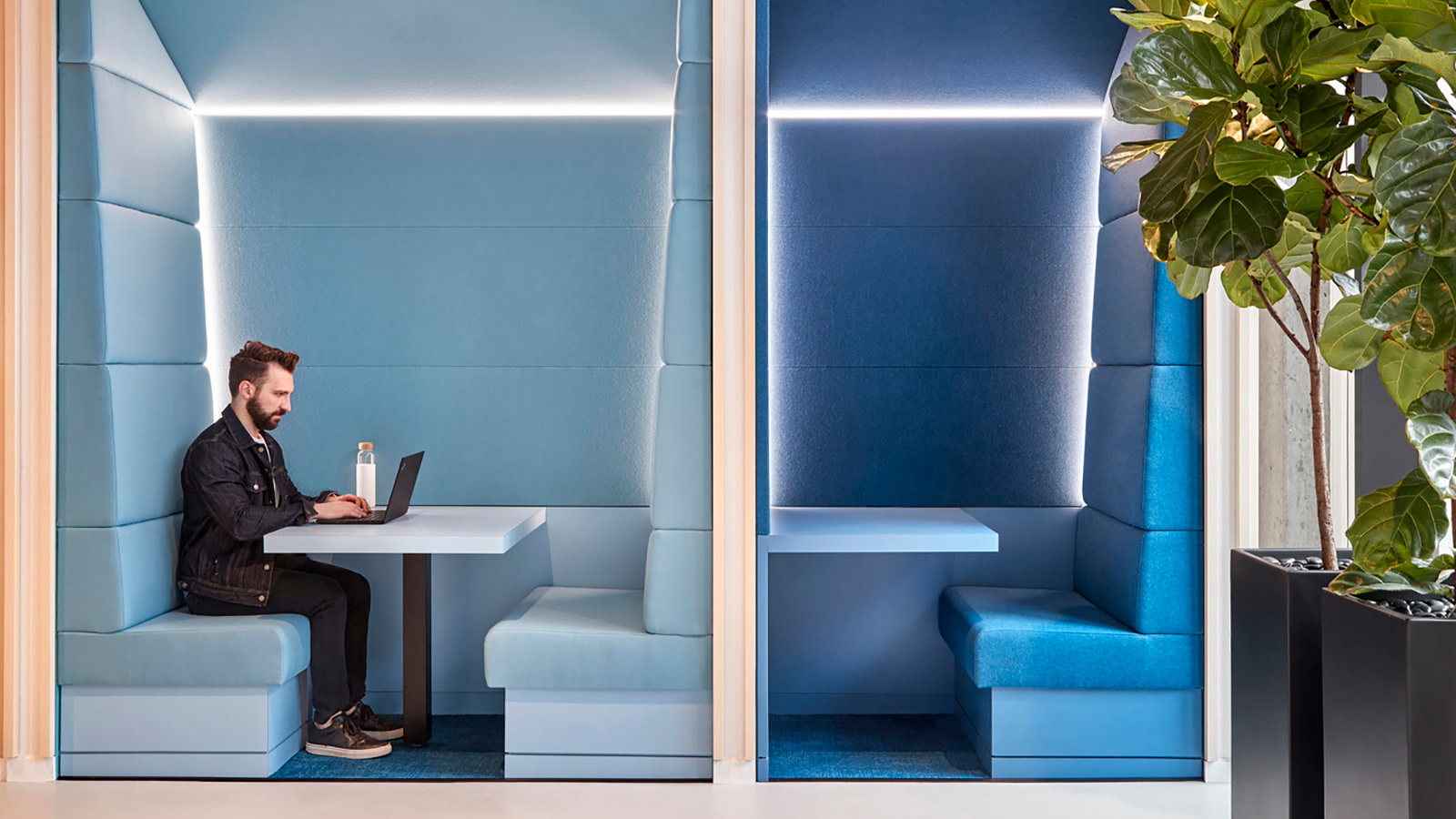 Booth seating at Yext's headquarters