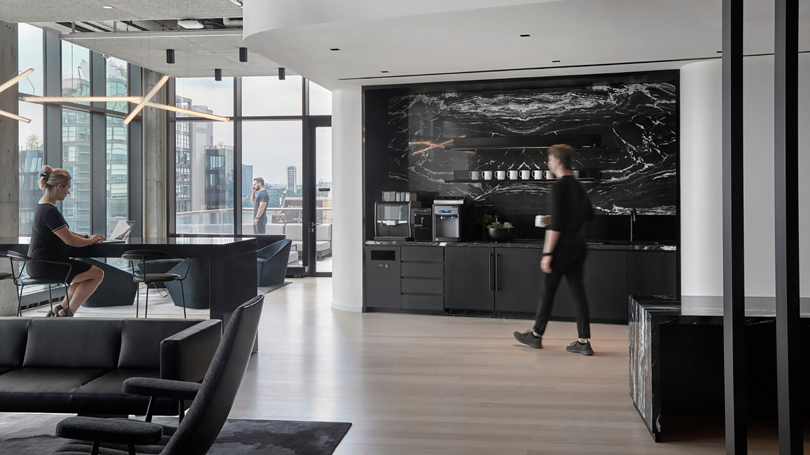 A café space at Yext offers impressive views and exterior access.