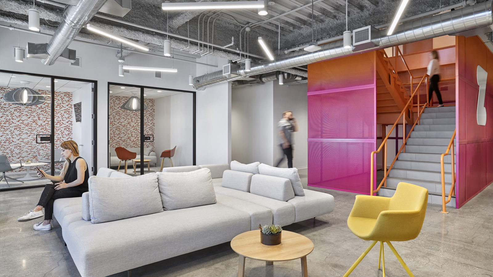 Zwift Long Beach stairwell and meeting spaces